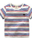 tanie Topy dla dziewczynek-Brzdąc Unisex Aktywny Święto Prążki Nadruk Krótki rękaw Bawełna T-shirt