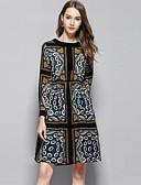 baratos Vestidos Femininos-Mulheres Sofisticado Moda de Rua Evasê Vestido - Estampado, Floral Altura dos Joelhos