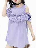 baratos Biquínis e Roupas de Banho Femininas-Menina de Vestido Diário Listrado Primavera Verão Todas as Estações Algodão Manga Curta Listras De Renda Azul
