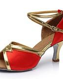 baratos Saias Femininas-Mulheres Sapatos de Dança Latina Cetim / Courino Sandália / Salto Recortes Salto Personalizado Personalizável Sapatos de Dança Vermelho