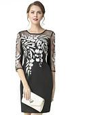baratos Vestidos Femininos-Mulheres Básico Tubinho Vestido Sólido Floral Acima do Joelho