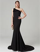 cheap Evening Dresses-Mermaid / Trumpet One Shoulder Sweep / Brush Train Spandex Celebrity Style Cocktail Party / Formal Evening Dress with Pleats by TS Couture®