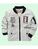 cheap Boys' Jackets & Coats-Toddler Boys' Basic Solid Colored / Geometric Long Sleeve Cotton Jacket & Coat / Cute