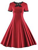 tanie Sukienki-Damskie Rozmiar plus Zabytkowe Bawełna Szczupła Sukienka swingowa Sukienka - Jendolity kolor, Kokarda Midi Czerwony / Lato