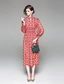 povoljno Ženski jednodijelni kostimi-Žene Osnovni Lantern rukav Korice Haljina - S izrezom Print, Cvjetni print Midi
