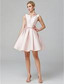 preiswerte Cocktailkleider-A-Linie V-Wire Ausschnitt Knie-Länge Satin Cocktailparty Kleid mit Schleife(n) / Plissee durch TS Couture®