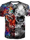 cheap Men's Tees & Tank Tops-Men's Basic Cotton T-shirt - Skull Print Round Neck Gray XXXXL / Short Sleeve / Summer