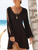 baratos Camisetas Femininas-Mulheres Bandagem Moda de Rua Delgado Vestidinho Preto / Camiseta Vestido - Vazado, Sólido Mini / Primavera / Outono / Com Fenda