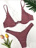 tanie Bikini i odzież kąpielowa 2017-Damskie Podstawowy Bandeau (opaska na biust) Bez ramiączek Bikini - Nadruk, Kratka Dół typu Cheeky