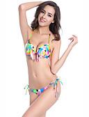tanie Bikini i odzież kąpielowa 2017-Damskie Halter Tankini - Frędzel, Geometric Shape Dół typu Cheeky