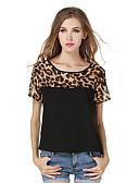 baratos Blusas Femininas-Mulheres Blusa - Para Noite Activo Patchwork, Leopardo / Primavera / Verão