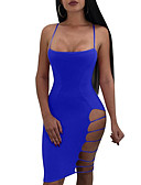 cheap Mini Dresses-Women's Daily Slim Bodycon Dress - Solid Colored Strap Summer Black Wine Royal Blue M L XL / Sexy