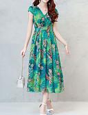 זול שמלות נשים-בגדי ריקוד נשים בוהו / מתוחכם מידות גדולות רזה מכנסיים - פרחוני דפוס תלתן / צווארון V / חגים