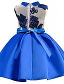 hesapli Elbiseler-Çocuklar Genç Kız Actif Parti Günlük Çiçekli Zıt Renkli Nakış Kolsuz Elbise YAKUT / Pamuklu / Sevimli