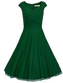 cheap Women's Dresses-Women's Vintage Cotton Slim A Line / Sheath Dress - Solid Colored Ruched High Waist / Summer