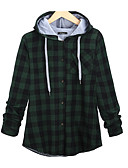 cheap Women's Hoodies & Sweatshirts-Women's Plus Size Basic Cotton Hoodie - Plaid Turtleneck / Fall / Winter