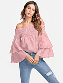 cheap Women's Tops-Dreamy Land Women's Active Petal Sleeves Shirt - Striped / Floral Ruffle / Denim Off Shoulder
