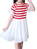 preiswerte Kleider für Mädchen-Kinder Mädchen Aktiv Alltag / Festtage Solide / Gestreift Kurzarm Baumwolle / Polyester Kleid Rote / Niedlich