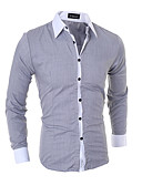 cheap Men's Shirts-Men's Basic Shirt - Solid Colored / Long Sleeve