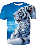 cheap Men's Tees & Tank Tops-Men's Active T-shirt - Animal Tiger, Print Round Neck Blue XL / Short Sleeve / Summer
