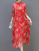 cheap Print Dresses-Women's Plus Size Party / Going out Street chic / Chinoiserie Loose Shift Dress - Solid Colored / Plaid / Animal Crane, Embroidered Crew Neck Summer Red XL XXL XXXL