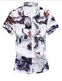 tanie Męskie koszule-Koszula Męskie Wzornictwo chińskie Kwiaty / Krótki rękaw
