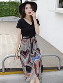 ieftine Rochii de Damă-Pentru femei De Bază / Boho Mărime Plus Size Zvelt Pantaloni - Geometric / Plisat Cu Șiret / Imprimeu Talie Înaltă Negru / În V