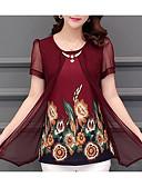tanie Suknie i sukienki damskie-Bluzka Damskie Vintage, Frędzel Bawełna Wyjściowe Solidne kolory Rękaw nietoperz Czarno-czerwony
