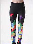 ieftine Leggings-Pentru femei De Bază Legging - Bloc Culoare, Imprimeu Talie medie
