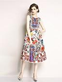 cheap Wedding Slips-Women's Beach / Weekend Vintage Swing Dress - Floral Print Spring Red L XL XXL