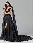 cheap Prom Dresses-A-Line / Princess Plunging Neck Court Train Spandex / Organza Celebrity Style Formal Evening Dress with Split Front / Tassel / Flower by TS Couture®