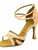 hesapli Dans Aksesuarları-Kadın's Latin Dans Ayakkabıları / Salsa Ayakkabıları Saten / İpek Sandaletler / Topuklular Toka / Kurdele Bağcık Kişiye Özel / Performans