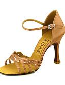 hesapli Gece Elbiseleri-Kadın's Latin Dans Ayakkabıları / Balo / Salsa Ayakkabıları Saten Sandaletler Toka Kişiye Özel Kişiselleştirilmiş Dans Ayakkabıları Sarı