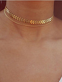 cheap Wedding Dresses-Layered Choker Necklace / Pendant Necklace / Layered Necklace - Leaf Vintage, Bohemian, European Gold, Silver 30 cm Necklace Jewelry For Party / Evening, Gift