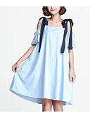 povoljno Ženske haljine-Žene Veći konfekcijski brojevi Vintage Pamuk Puff rukav Shift Haljina - Drapirano, Jednobojni Do koljena Blue & White