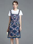 cheap Women's Dresses-Women's Daily Denim Dress - Floral Summer Blue M L XL