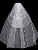 رخيصةأون فساتين سواريه-Three-tier مجوهرات عصرية / موديل الورد / متشابك الحجاب الزفاف Chapel Veils مع هدب / ربط 31،5 في (80cm) بولي / تول / Oval