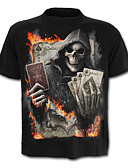 cheap Men's Tees & Tank Tops-Men's Skull / Exaggerated Plus Size Cotton T-shirt - Skull / Letter / Portrait Print / Short Sleeve