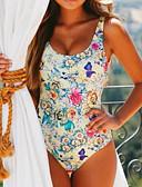 tanie Bikini i odzież kąpielowa 2017-Damskie Boho Bandeau (opaska na biust) Bez ramiączek Jednoczęściowy - Nadruk, Kwiaty Dół typu Cheeky