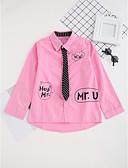 baratos Camisas para Meninos-Para Meninos Camisa Diário Estampado Primavera Outono Algodão Manga Longa Casual Branco Rosa