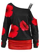 ieftine Tricou-Pentru femei De Pe Umăr Tricou Floral