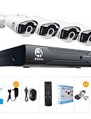 hesapli Gelin Şalları-Jooan® 8ch 1080n dvr 4x720p pro hd-tvi kapalı / açık ip66 ir gece görüş led ile su geçirmez mermi kameralar ev cctv video gözetim kitleri