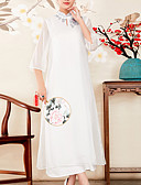 זול קווארץ-מידי רקום, גיאומטרי - שמלה סווינג סגנון סיני בגדי ריקוד נשים