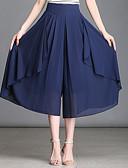 זול הלבשה תחתונה אופנתית-בגדי ריקוד נשים סגנון רחוב מידות גדולות משוחרר רגל רחבה מכנסיים - אחיד קפלים מותניים גבוהים אודם