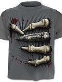 baratos Camisetas & Regatas Masculinas-Homens Tamanhos Grandes Camiseta Activo Estampado, Caveiras Algodão / Manga Curta