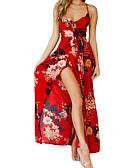 رخيصةأون فساتين الحفلات-فستان نسائي ثوب ضيق أساسي / بوهو طباعة طويل للأرض نحيل ورد مع حمالة مناسب للعطلات / شاطئ / مثير