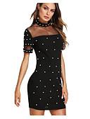 olcso Női ruhák-Női Parti Pamut Vékony Bodycon Ruha - Gyöngy Mini Terített nyak Fekete