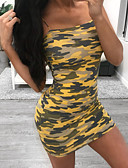 cheap Print Dresses-Women's Going out Club Basic Mini Skinny Bodycon Sheath Dress - Camo / Camouflage Print Strap Summer Orange Yellow M L XL / Sexy