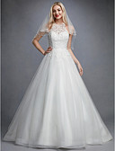 cheap Wedding Dresses-Princess Jewel Neck Chapel Train Lace / Organza Made-To-Measure Wedding Dresses with Beading / Appliques by LAN TING BRIDE® / Beautiful Back