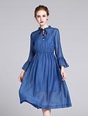 tanie Sukienki-Damskie Wyjściowe Wyrafinowany styl Jedwab Szczupła Swing Sukienka - Solidne kolory Midi